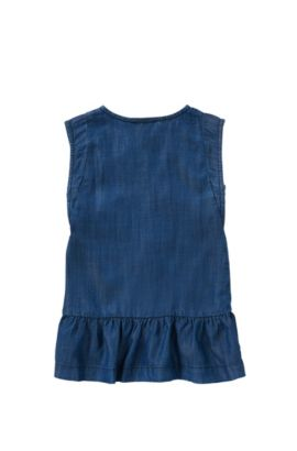 'J12149' | Girls Tencel Denim Buttoned Dress , Patterned