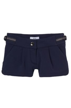 'J14173' | Girls Cotton Fleece Shorts, Dark Blue