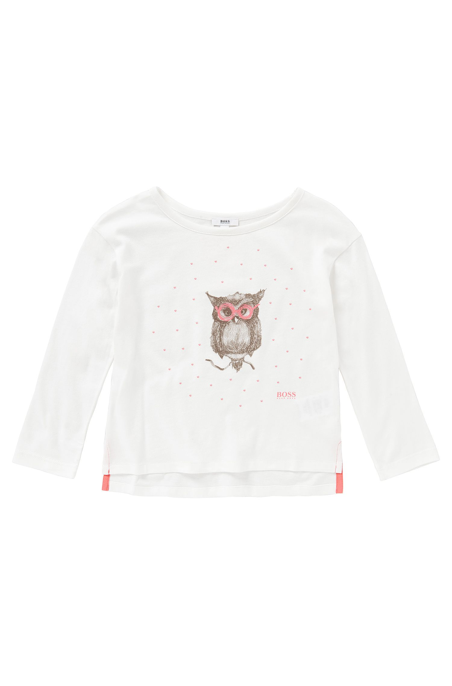 'J15036' | Girls Cotton Blend Owl T-Shirt