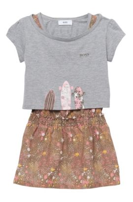 'J18101' | Cotton T-Shirt, Dress Set, Patterned