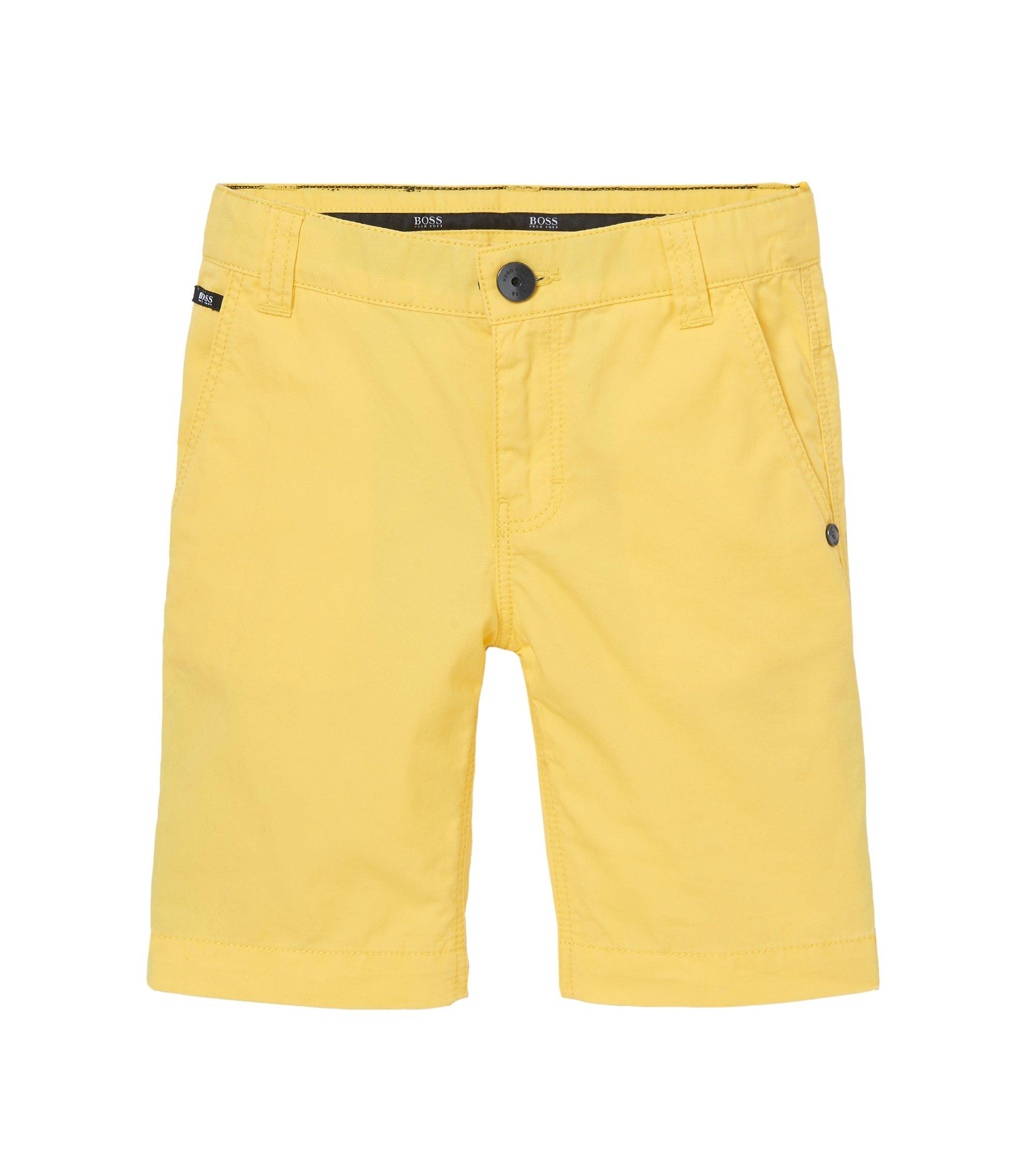 'J24386' | Boys Cotton Poplin Bermuda Shorts, Yellow