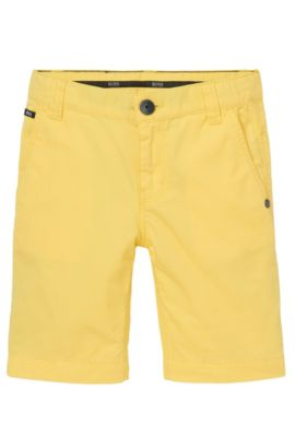 'J24386' | Boys Cotton Poplin Bermuda Shorts, Yellow