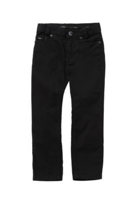 'J24393' | Boys Stretch Cotton Twill Pants, Black