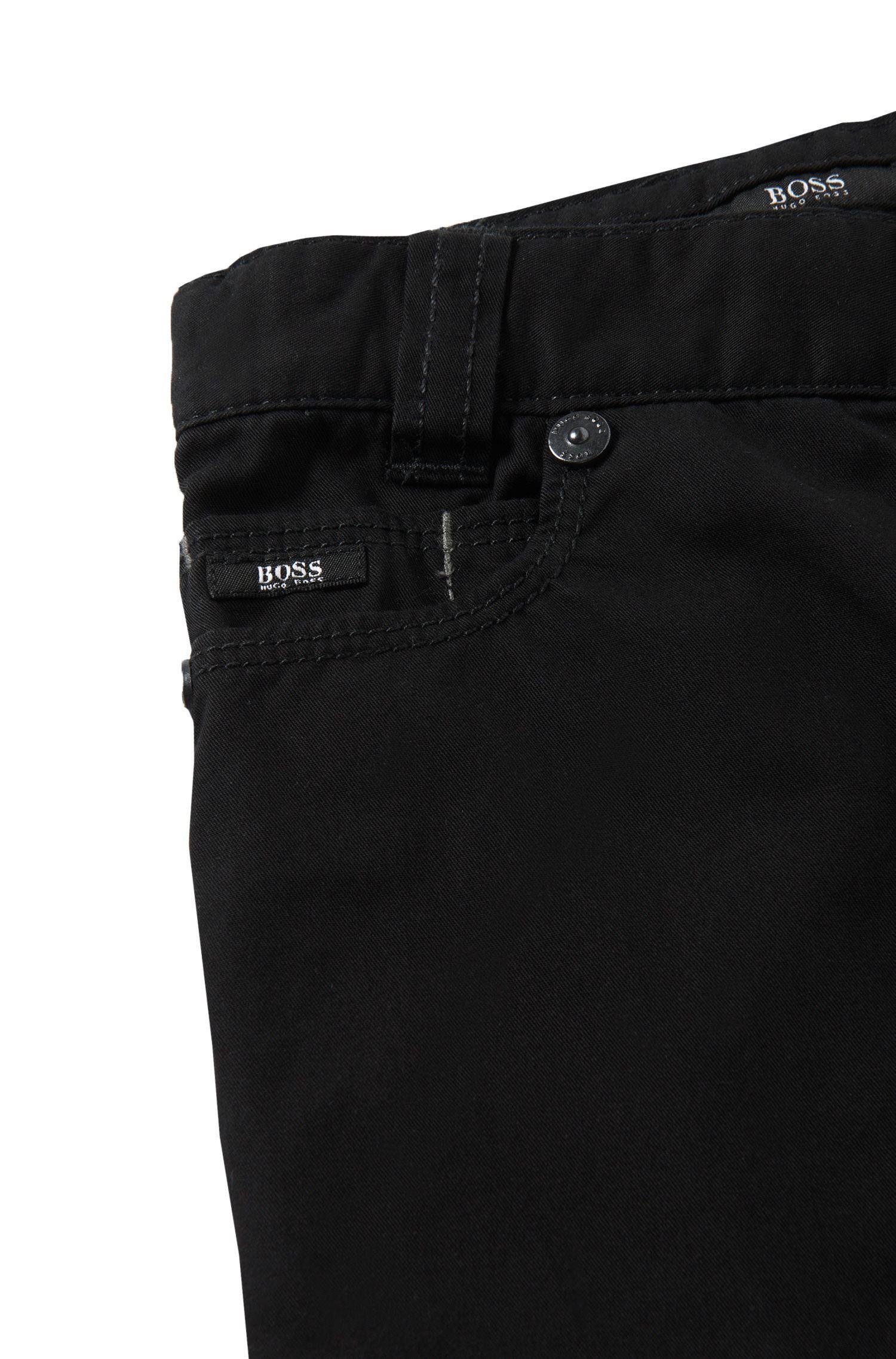 'J24393' | Boys Stretch Cotton Twill Pants, Black