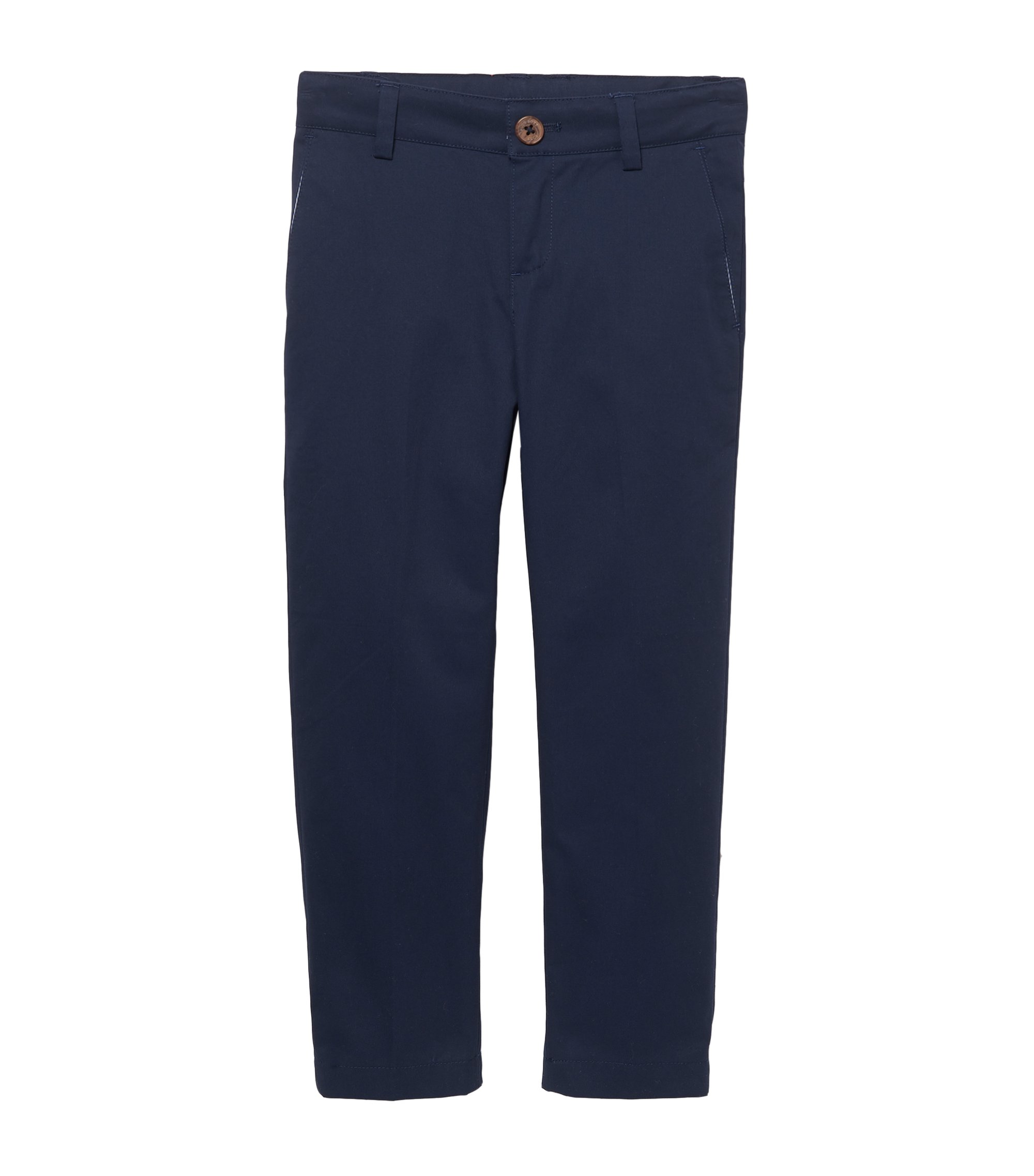 'J24399' | Boys Stretch Cotton Trousers, Dark Blue