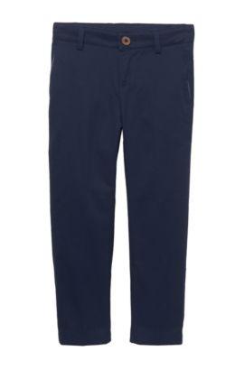 'J24399' | Boys Stretch Cotton Trousers, Dark Blue