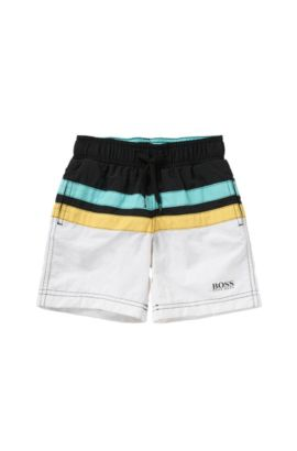 'J24404' | Boys Stretch Cotton Swim Trunks, Black