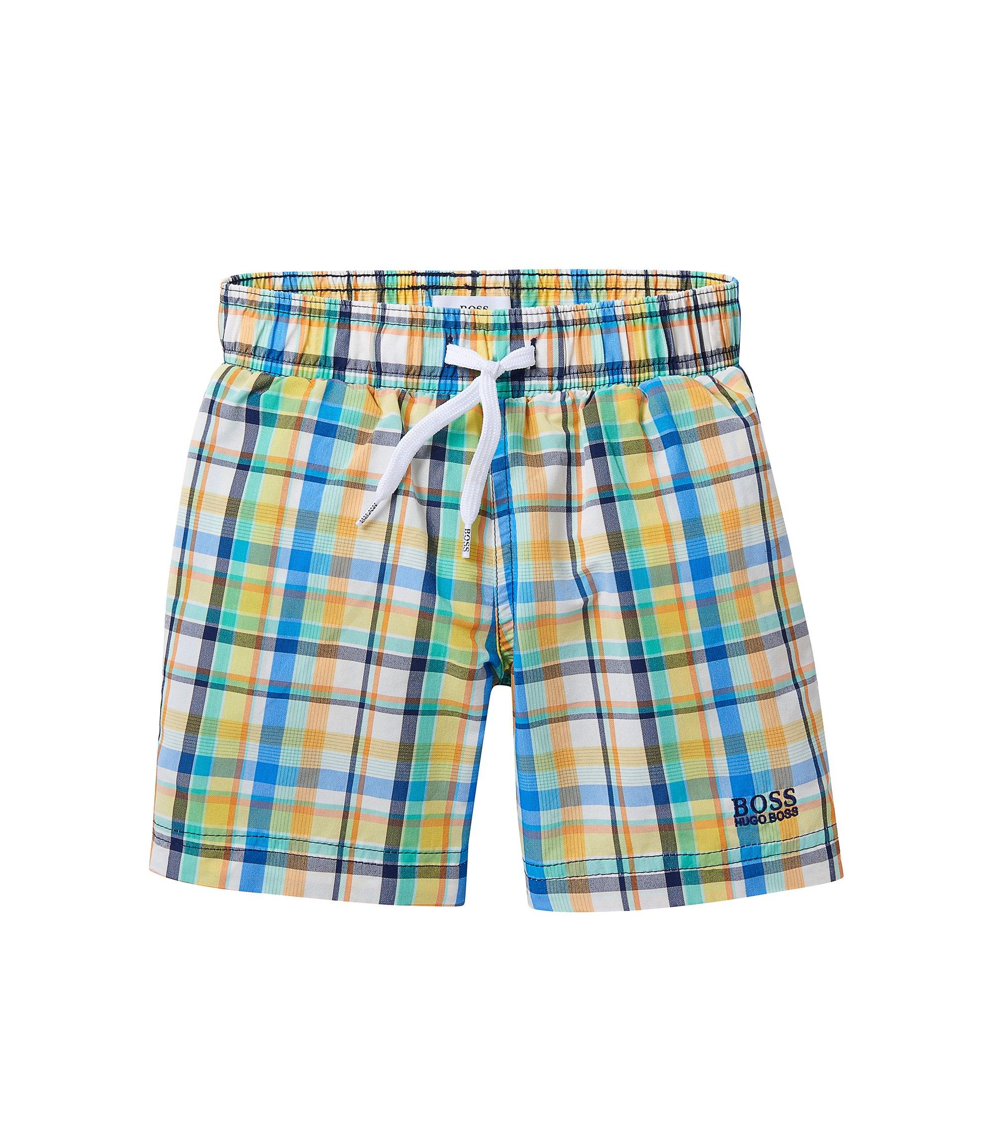 'J24405' | Boys Stretch Cotton Quick Dry Swim Trunks, Green