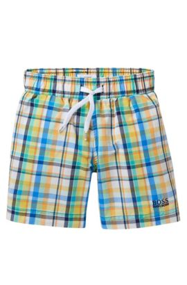 'J24405' | Boys Stretch Cotton Quick Dry Swim Trunks, Green