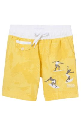 'J24406' | Boys Printed Swim Trunks, Yellow