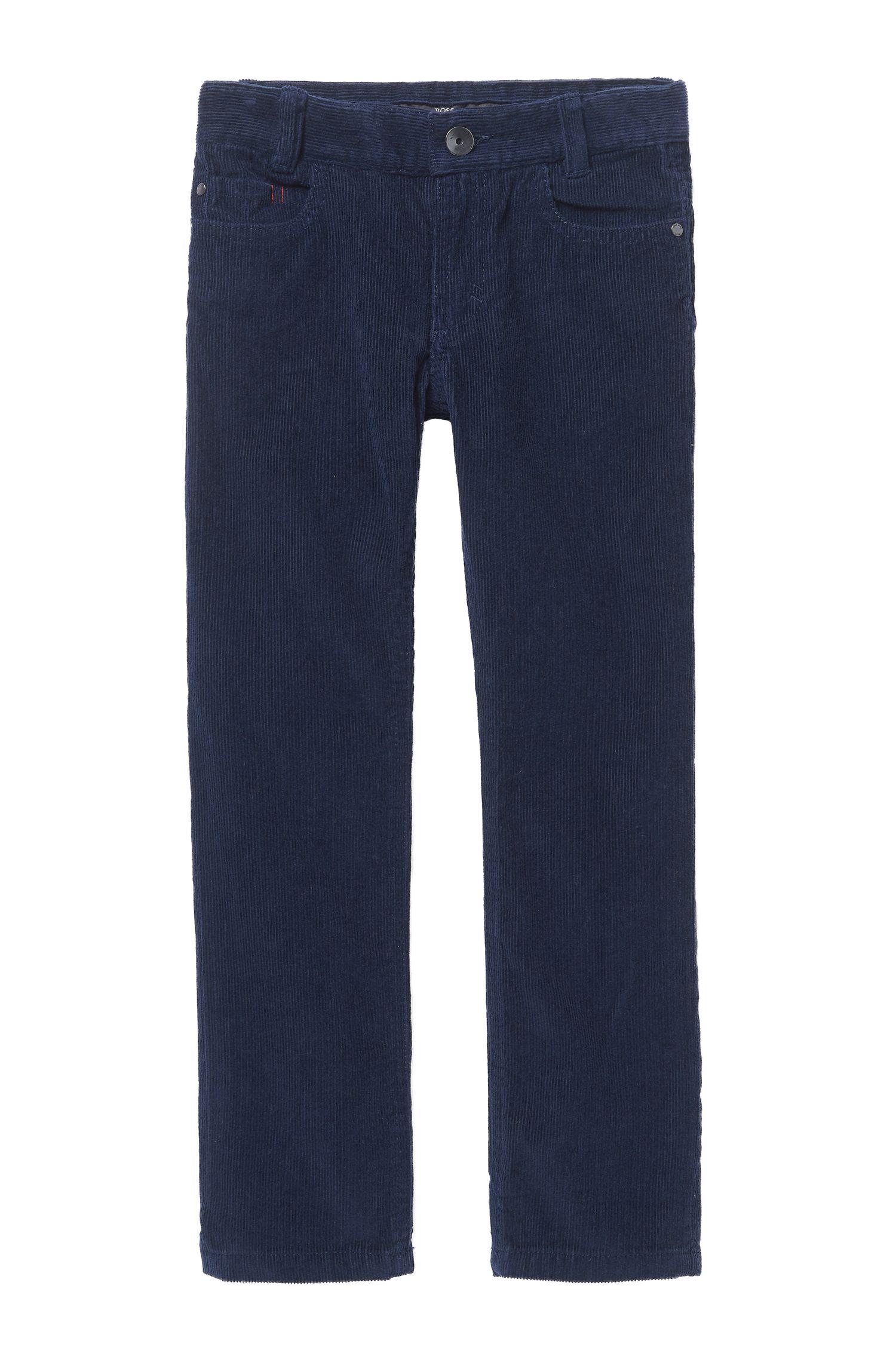 'J24419' | Boys Stretch Cotton Corduroy Trousers, Dark Blue