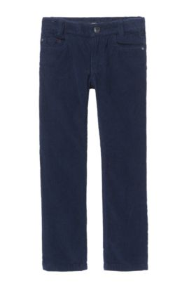 'J24419' | Boys Stretch Cotton Corduroy Trousers, Dark Blue