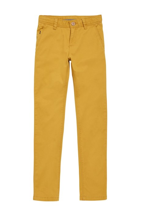 'J24421' | Boys Stretch Cotton Blend Chinos, Light Brown