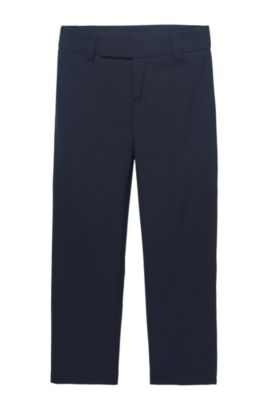 'J24V07' | Boys Wool Dress Pants, Dark Blue