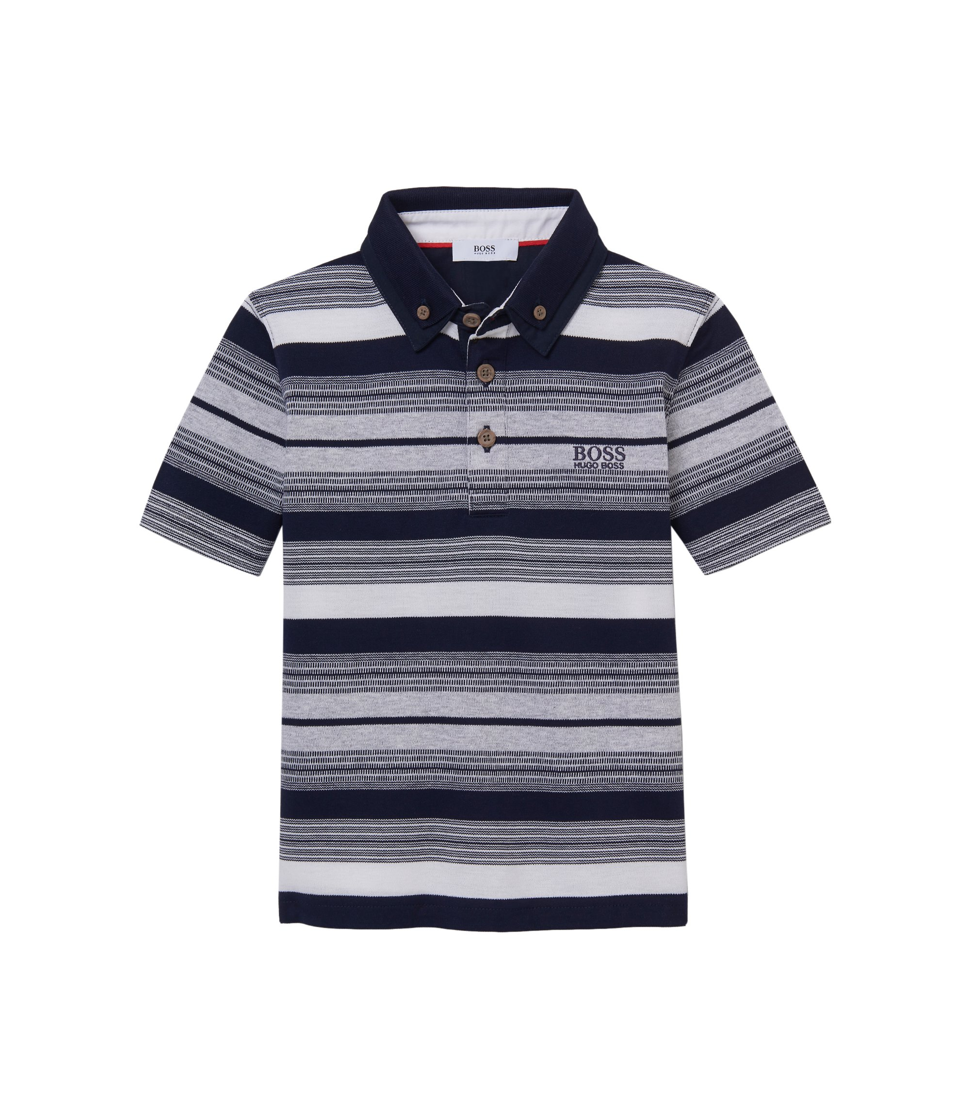 'J25913' | Boys Stretch Cotton Striped Polo Shirt, Dark Blue