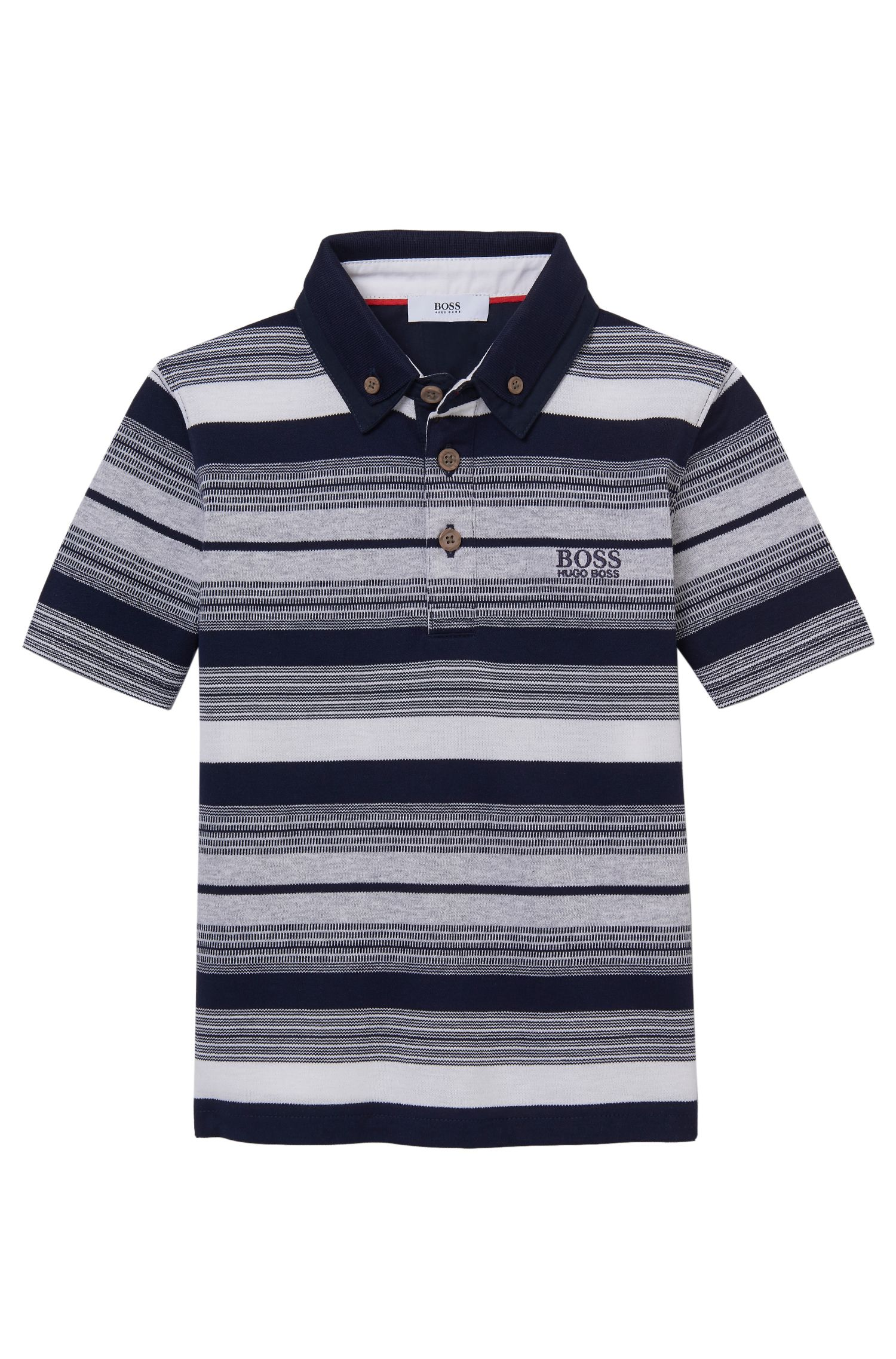'J25913' | Boys Stretch Cotton Striped Polo Shirt