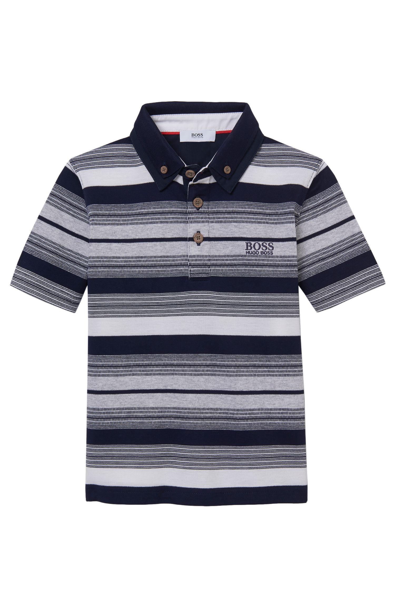 'J25913' | Boys Stretch Cotton Striped Polo Shirt