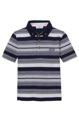 'J25913' | Boys Stretch Cotton Striped Polo Shirt, Dark Blue