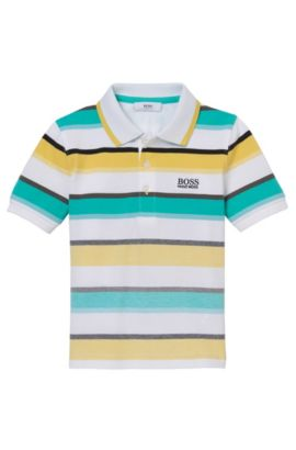 'J25922' | Boys Stretch Cotton Striped Polo, Green