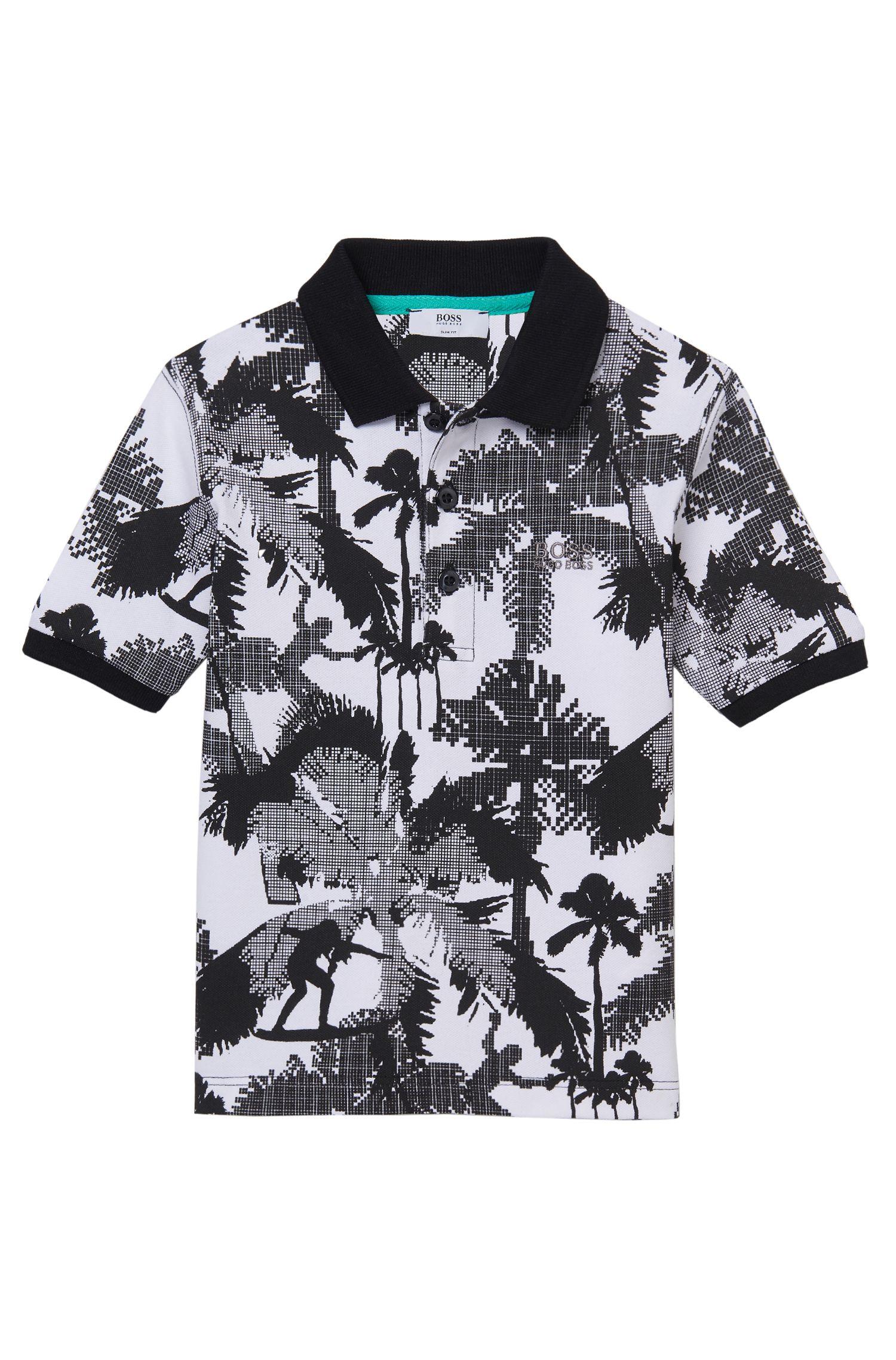 'J25923' | Boys Stretch Cotton Printed Polo Shirt