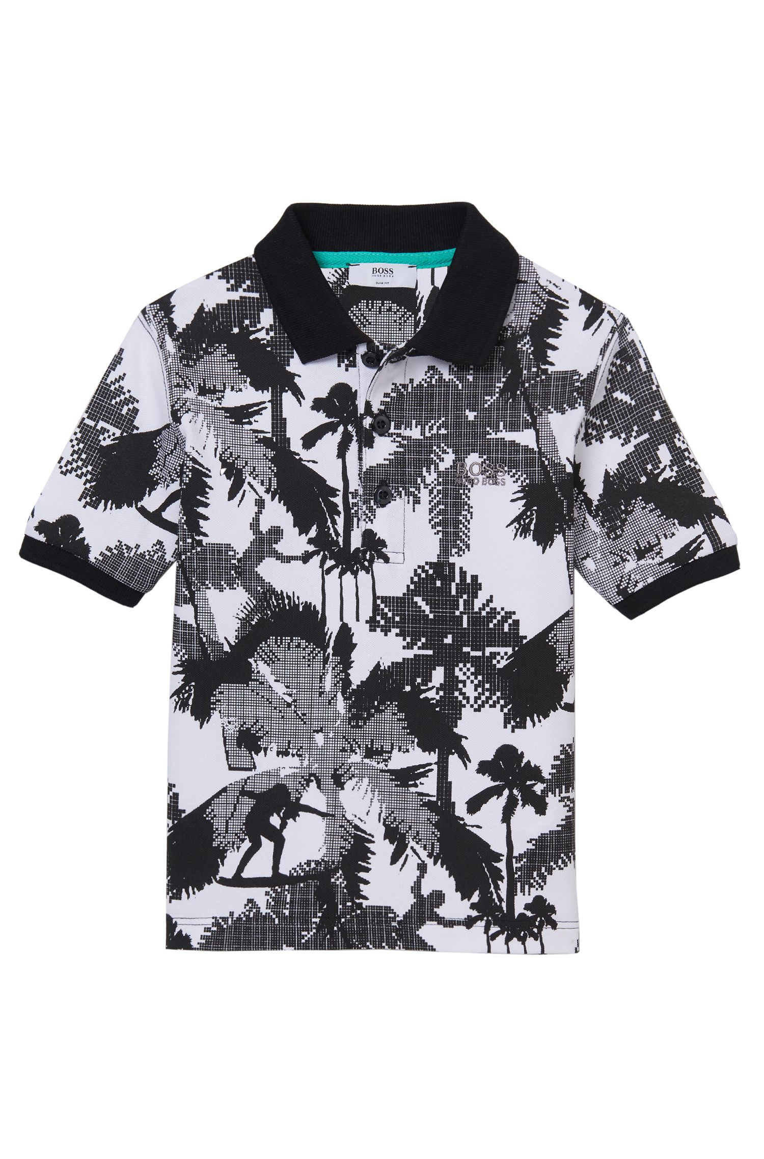 'J25923' | Boys Stretch Cotton Printed Polo Shirt