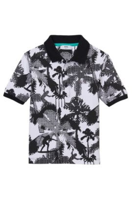 'J25923' | Boys Stretch Cotton Printed Polo Shirt, Black