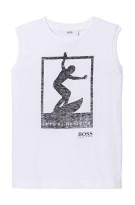'J25926' | Boys Cotton Blend Graphic Tank Top, White