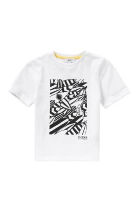 'J25939' | Boys Cotton Printed T-Shirt, White