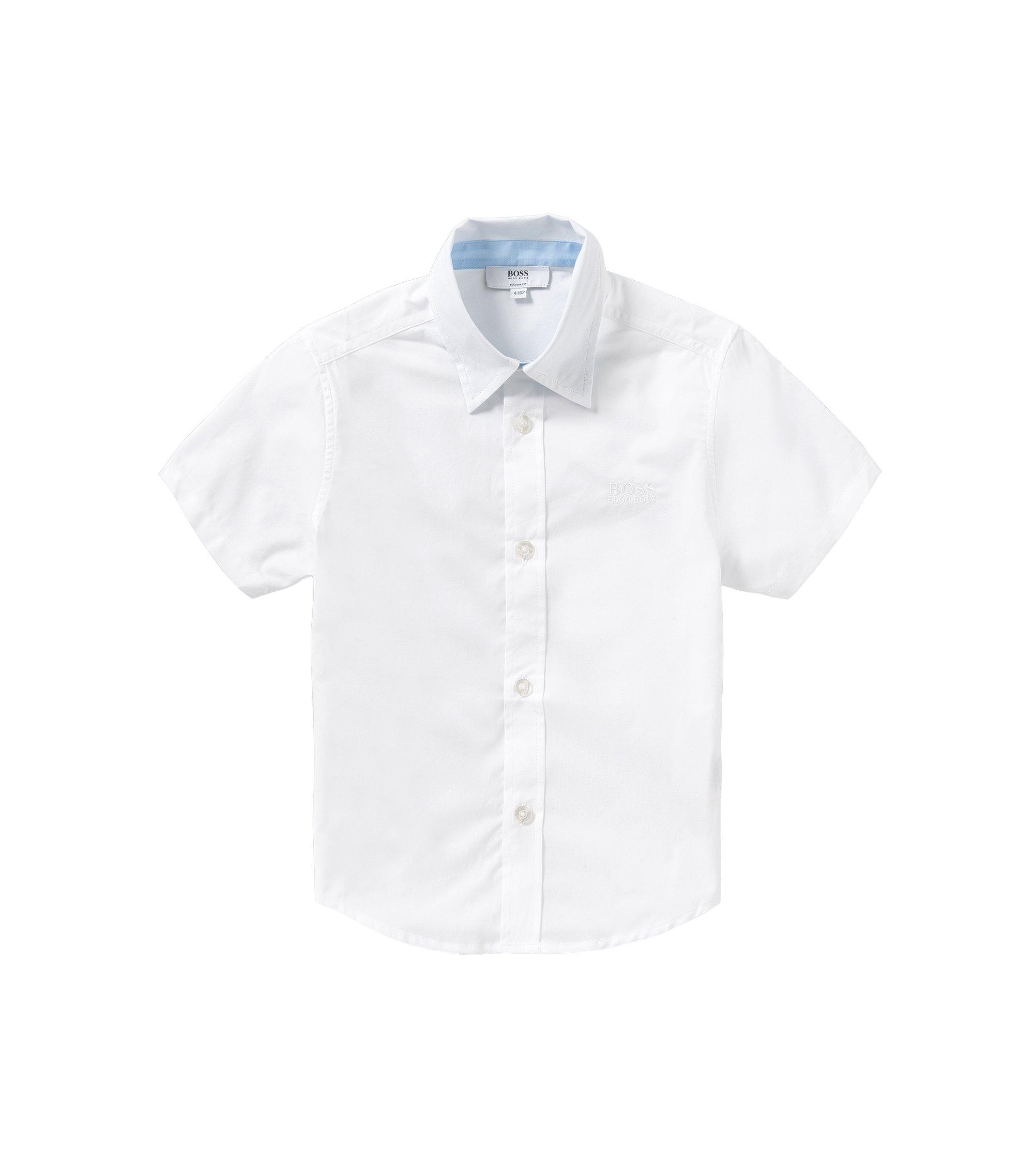 'J25944' | Boys Stretch Cotton Button Down Shirt, White