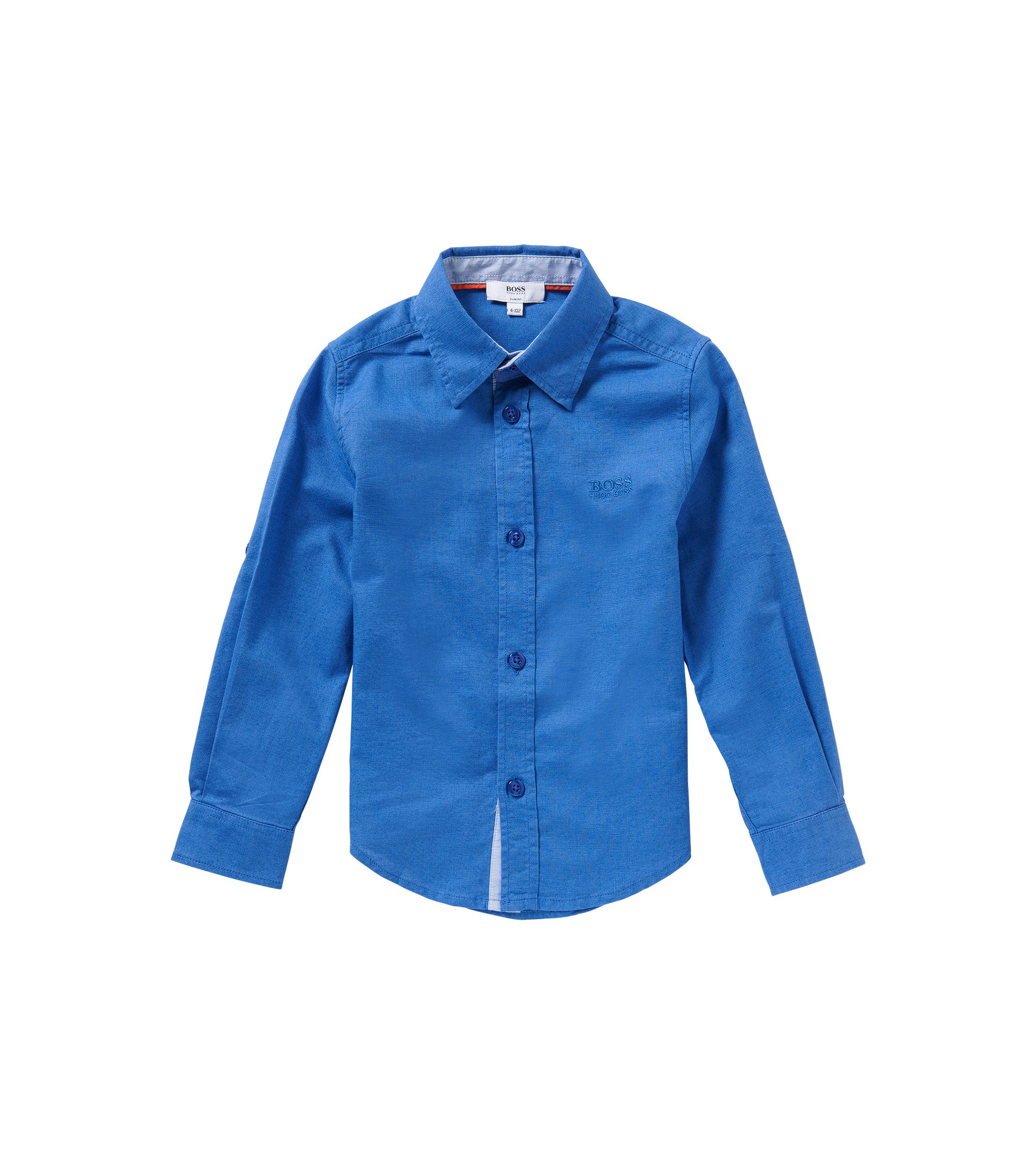 'J25949' | Boys Cotton Linen Blend Button Down Shirt, Blue
