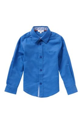 'J25949' | Boys Cotton Linen Blend Button Down Shirt, Blue