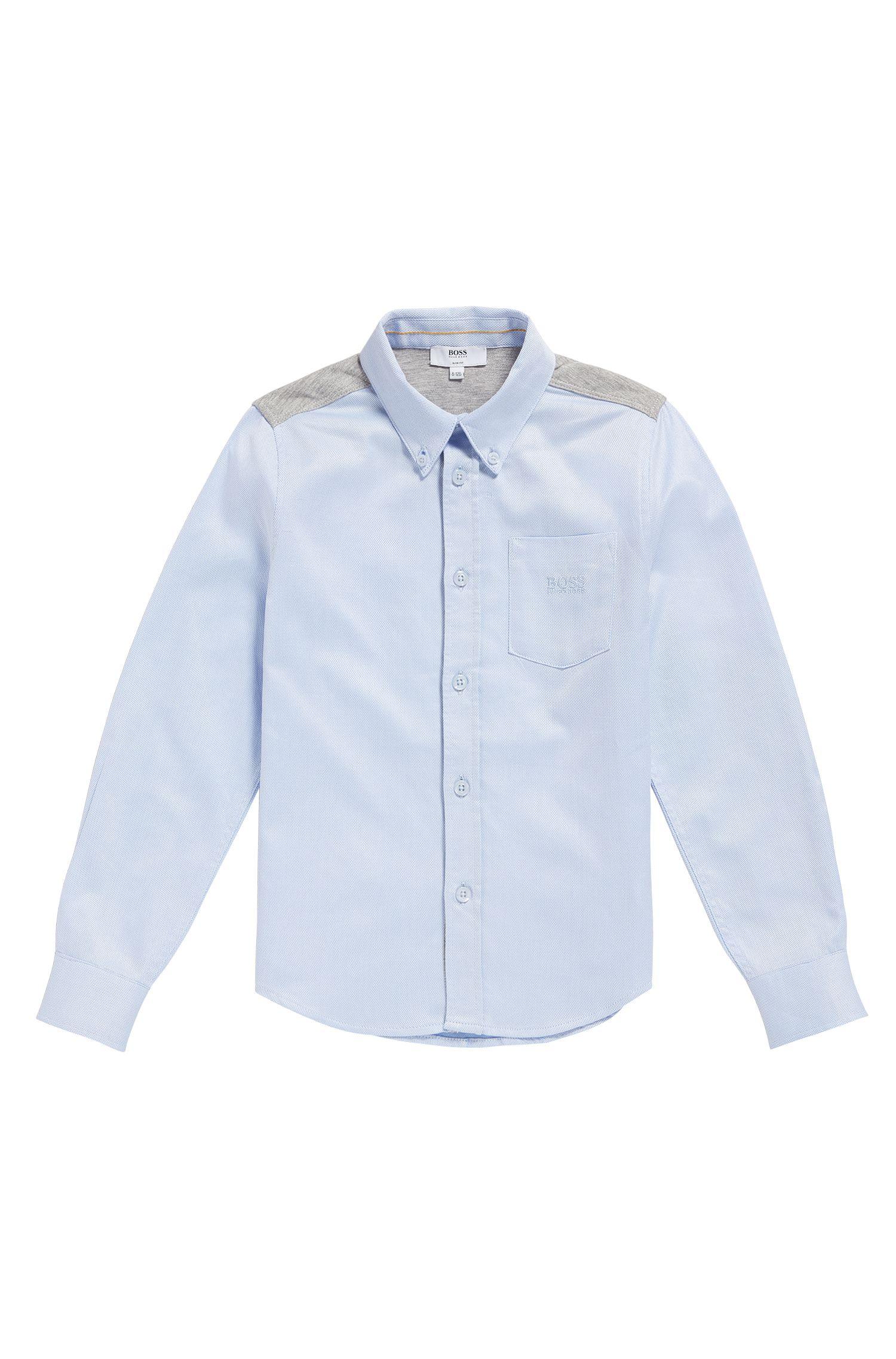 'J25990'   Boys Cotton Jersey Oxford Button Down Shirt