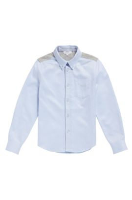 'J25990' | Boys Cotton Jersey Oxford Button Down Shirt, Light Blue