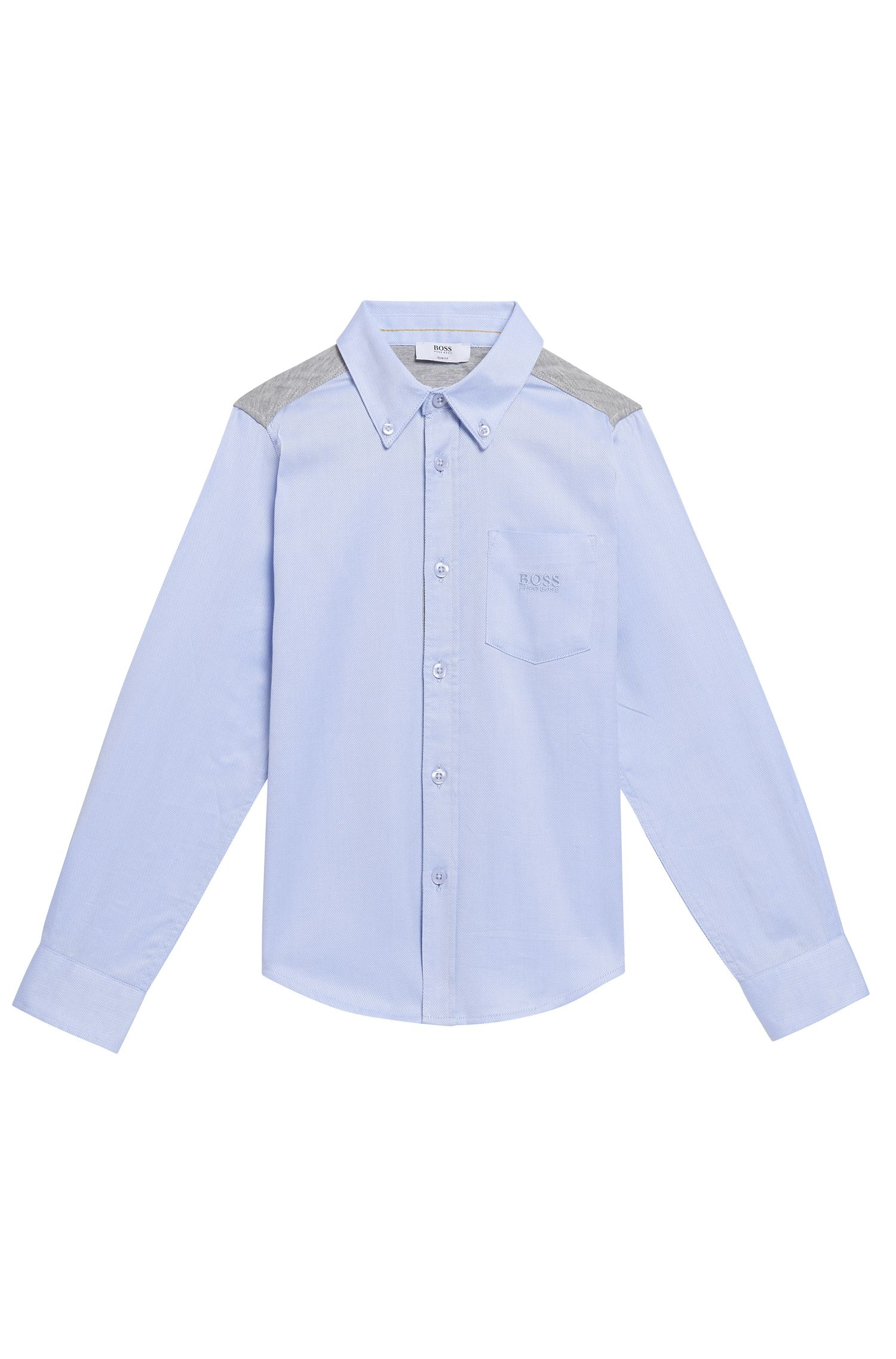 'J25990' | Boys Cotton Jersey Oxford Button Down Shirt
