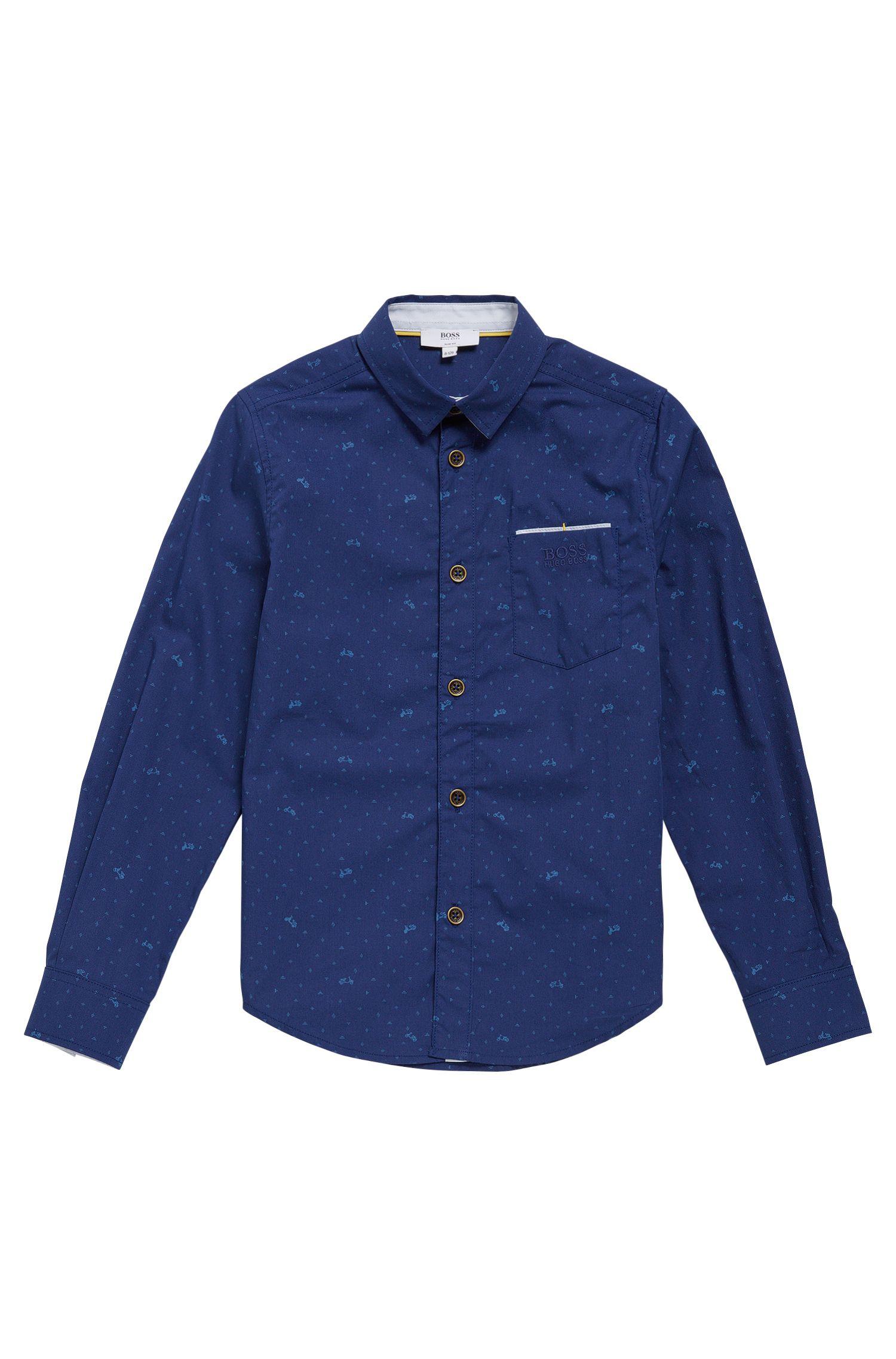 'J25991' | Boys Cotton Printed Button Down Shirt