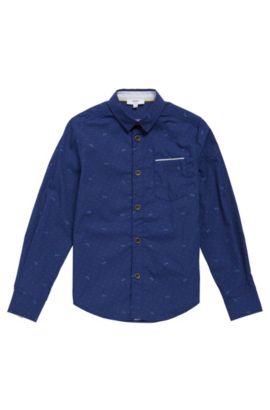 'J25991' | Boys Cotton Printed Button Down Shirt, Dark Blue