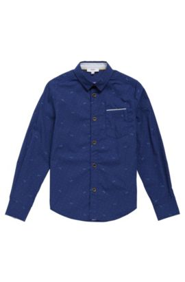 'J25991' | Boys Cotton Printed Button Down Shirt, Dark Blue