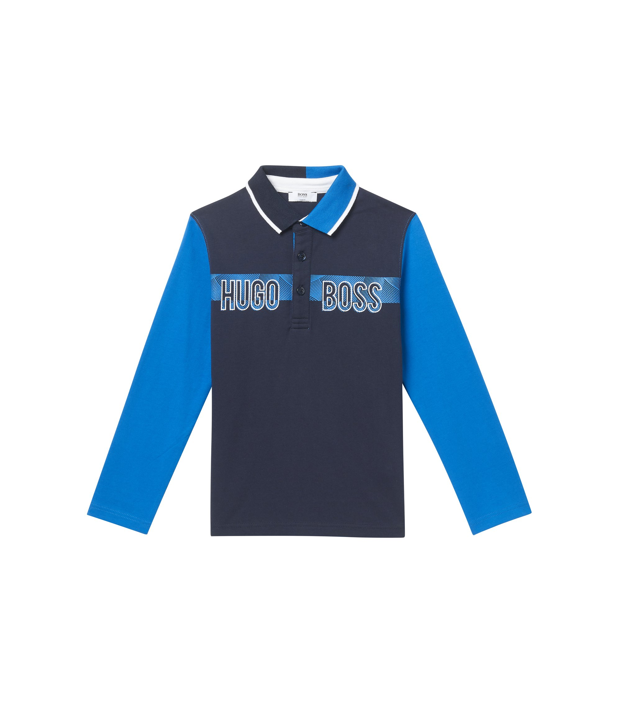 'J25994' | Boys Cotton Logo Polo Shirt, Patterned