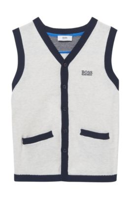 'J25A09' | Boys Knit Cotton Vest, Light Beige