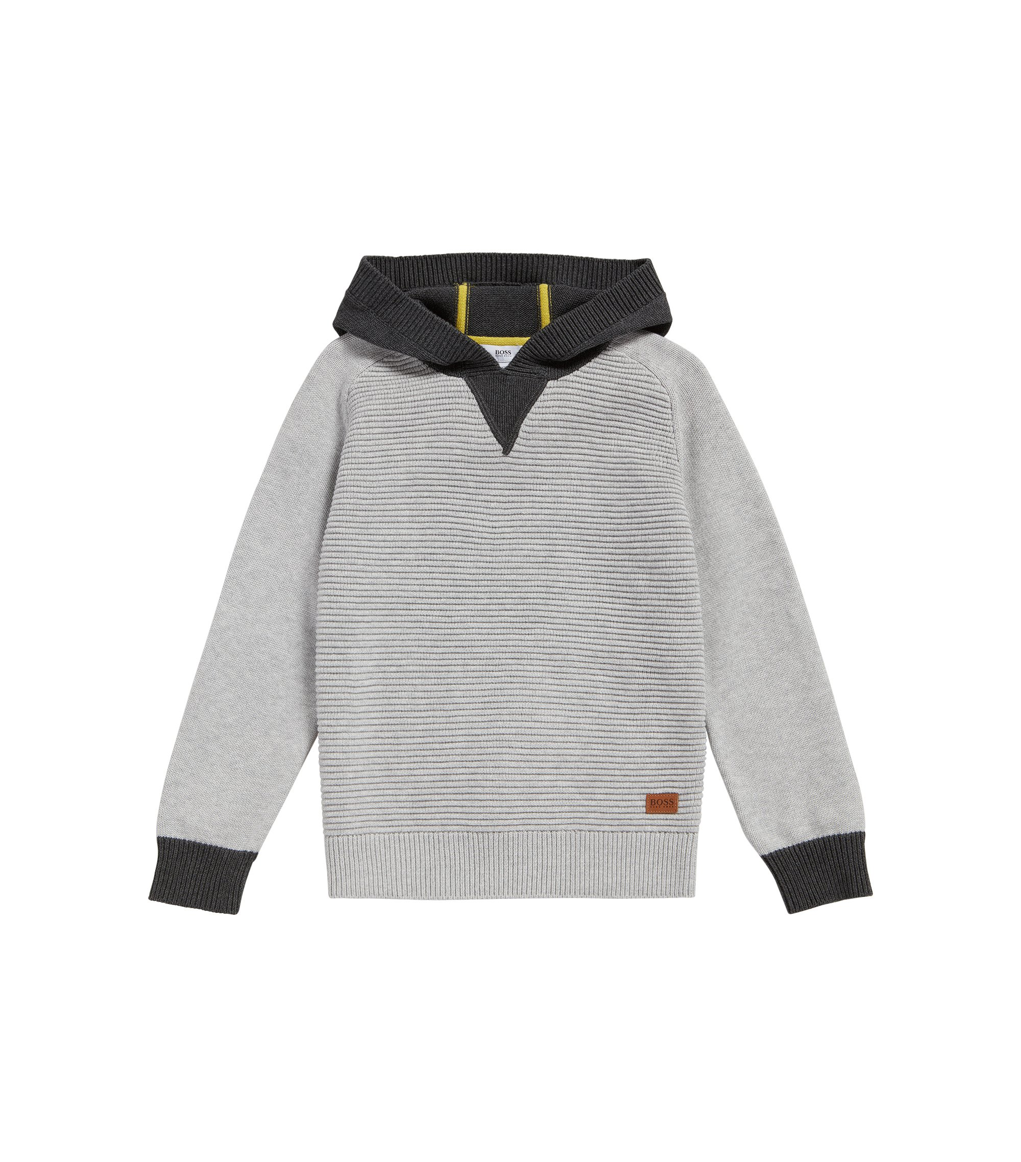 'J25A16' | Boys Cotton Hooded Sweater, Light Grey