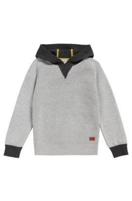 'J25A16' | Boys Cotton Hooded Sweater, Light Grey