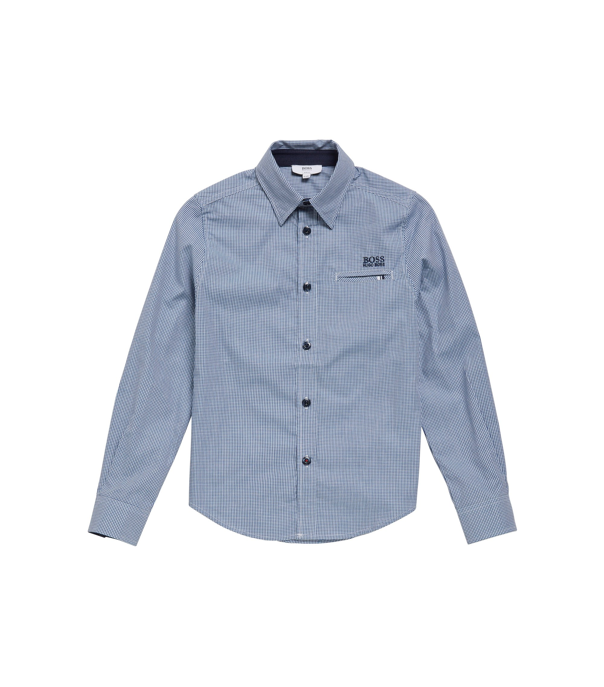 'J25A20' | Boys Cotton Button Down Shirt, Dark Blue