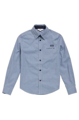 'J25A20' | Boys Cotton Button Down Shirt, Dark Blue