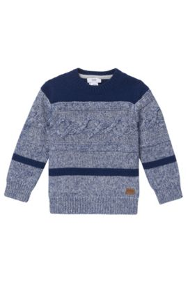 'J25A26' | Boys Cotton Cable Sweater, Dark Blue