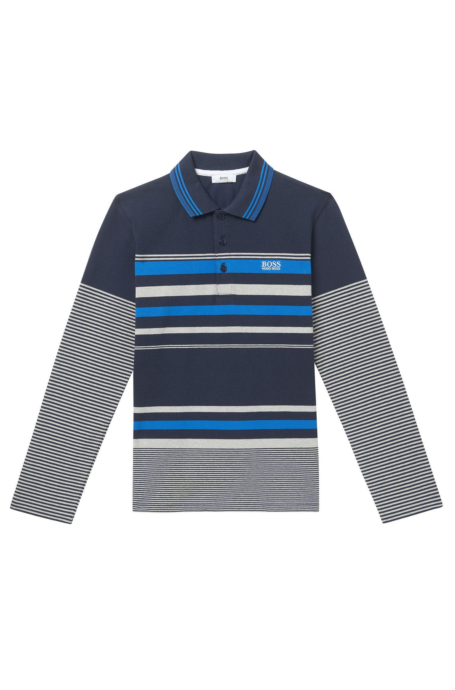 'J25A29' | Boys Cotton Polo Shirt, Patterned