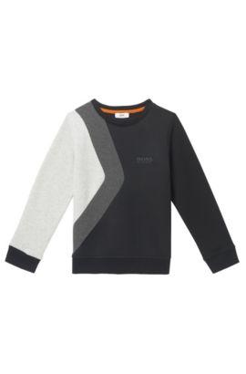 'J25A33' | Boys Cotton Colorblock Sweatshirt, Black