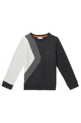 'J25A33' | Boys Cotton Colorblock Sweatshirt, Black
