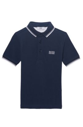 'J25V10' | Boys Cotton Pique Polo Shirt, Dark Blue