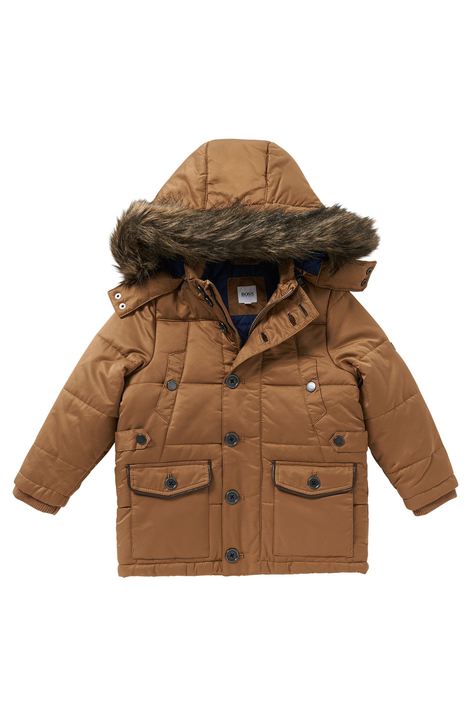 'J26255' | Boys Quilted Parka, Removable Hood