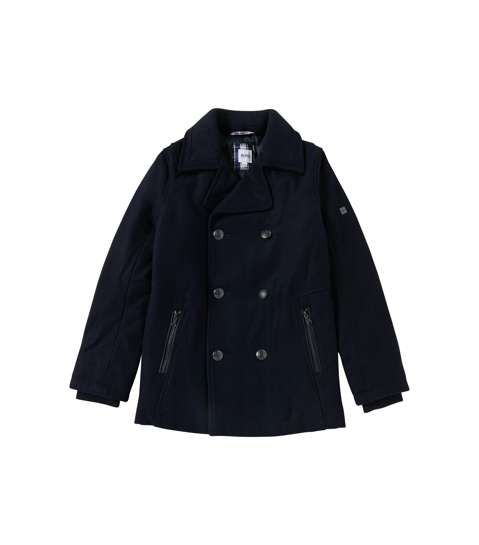 'J26257' | Boys Wool Pea Coat, Dark Blue